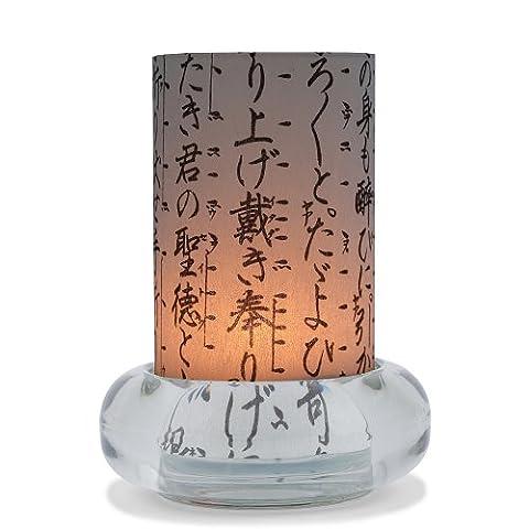 Windlicht KIKUJIDO aus Glas und Japanpapier Größe: Ø Glassitz 9cm, Ø Windlicht 6cm, Höhe 12 cm