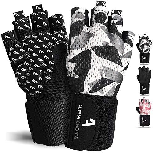 Alphachoice Performance Fitness Handschuhe Damen und Herren mit Handgelenkschutz - Trainingshandschuhe für Krafttraining, Bodybuilding, Gewichtheben (S, Camouflage)