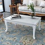 SENLUOWX Couchtisch, rechteckig, Hochglanz, Weiß, klassischer Beistelltisch, 100 x 60 x 42 cm