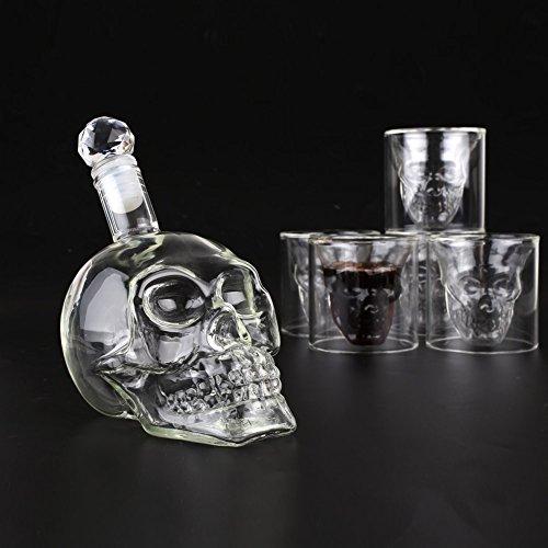 Amzdeal Skull Glas Flasche, Totenkopf Flasche 350ml mit 6 Schädel Gläser 75ml, Schädelflasche mit Whisky Vodka oder Schnapsgläser - 5