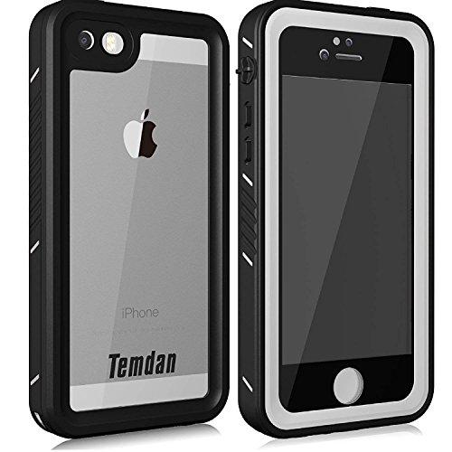 Temdan iPhone 5/5S/SE Wasserdichte Hülle mit Ständer und Schwimmgurt bis zu 33ft / 10m wasserdicht Hülle für iPhone 5/5S/SE (4,0 Zoll) (Weiß)