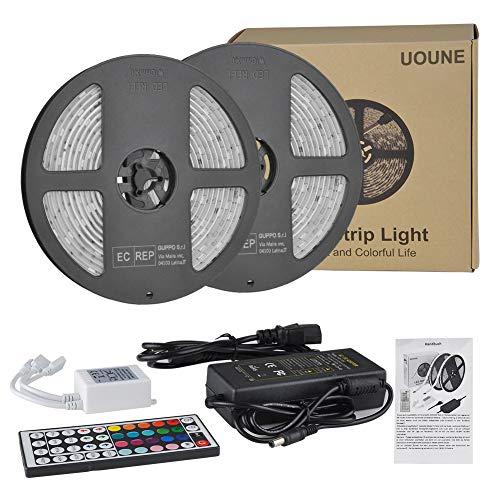 RGB LED Lichtband Streifen 10M 5050 300leds LED Flexibel Stripes UOUNE LED Bänder Lichterkette Wasserdicht IP65 Memory Funktionmit 44 Tasten Fernbedienung für Decke Bar Theke Schrank Beleuchtung Innen -