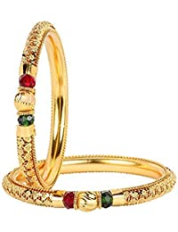 Aabhu Traditional Ethenic Crystal Gold Plated Designer Jewellery Kada Bangle For Women And Girls