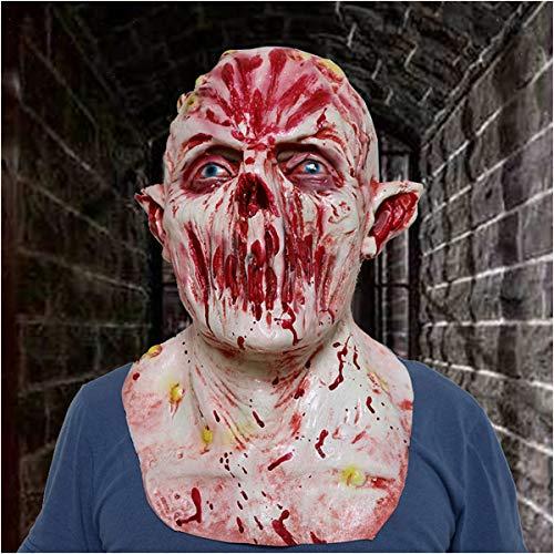 Zombie Ghost Kostüm Gesicht Erwachsene Für - CHQPT Halloween Masken, Bloody Zombie Maske Melting Gesicht Erwachsene Latex Kostüm Walking Dead Halloween Scary Maske Horror Adult Kostüm Zubehö