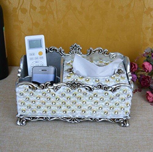 XIAOMIN Stoccaggio Scatola Telecomando Europeo Di Lusso Del Tessuto Multifunzione Box Creative Desktop Pompaggio Vassoio Perla Diamante American Tissue Paper Dispenser
