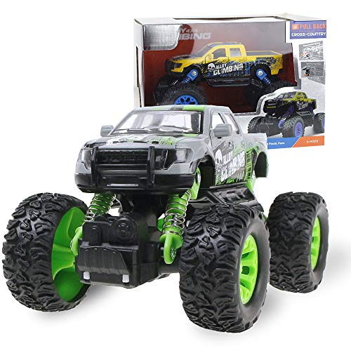 Coolplay Alloy Pull-Back-Off-Road-Kletterwagen Monster Truck Cross Road Allradklettern mit Feder Grün (Monster Trucks Monster Energy)