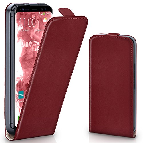 moex Samsung Galaxy S8   Hülle Dunkel-Rot 360° Klapp-Hülle Etui Thin Handytasche Dünn Handyhülle für Samsung Galaxy S8 Case Flip Cover Schutzhülle Kunst-Leder Tasche