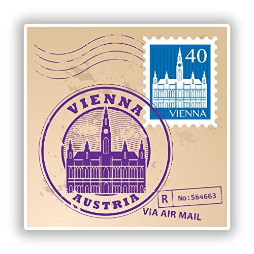 Preisvergleich Produktbild 2x Wien Österreich gemischt Briefmarken Vinyl Aufkleber Reise Gepäck # 10080 - 10cm/100mm Wide
