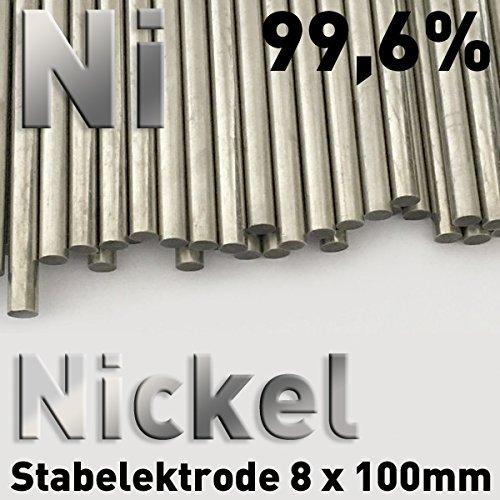 Nickel-Anode, Nickelstab 8 x 100 mm, Nickelstabanode, Nickelelektrode für Galvanik, Vernickeln, Stiftgalvanik, Tampongalvanik