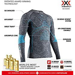 X-Bionic Energy Accumulator 4.0 Shirt Round Neck Long Sleeves Men Capa De Base Camiseta Funcional, Hombre, Dark Grey Melange/Blue, M