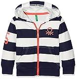 United Colors of Benetton Jungen Kapuzenpullover Jacket Wforwardslashhood L/s, Blau (Navy/White), 3-4 Jahre (Herstellergröße: XX)
