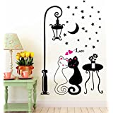 Paper Plane Design Romantic Carton Cute Street Love Couples Cat Wedding Room Bedroom Decoration Wall Sticker