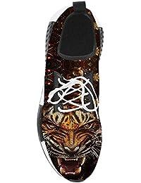 GGT tigre Unisex in gomma lacci elastico piatto Hightop Sneakers 120?cm (47?pollici), Bianco