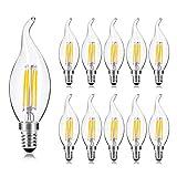 Wedna 10er Pack E14 LED Kerze Lampe für Kronleuchter, 4W Ersatz für 40W Halogenlampen, Classic LED Kerzen Fadenlampe, Warmweiß 2700K 420LM Nicht Dimmbar - Typ B