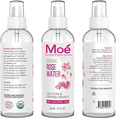 moé-200ml bio Rose Agua, 100% puro Producto natural sin alcohol y conservantes. Rose Water Organic Vegan Moe