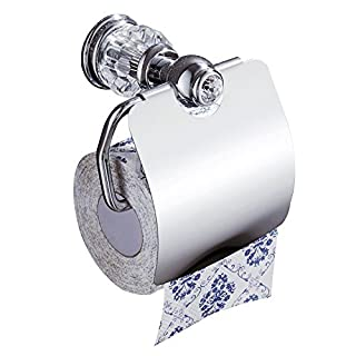 auswind Silber Chrom poliert Toilettenpapierhalter aus Messing Finish Kristall klar und Glas Tissue Halter Wand montiert