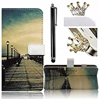 For Galaxy S8 Case [Anti-Scratch],Vandot PU Leather Wallet Case Shockproof Lightweight Flip Stand Magnetic Cover HD Colorful Painting Pattern for Samsung Galaxy S8 G9500-Streetlight+Bling Anti Dust Plug+Stylus Pen