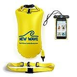 New Wave Schwimmboje für Openwater Schwimmer und Triathleten - Visible Float für Training und Wettkampf - Bundle with Waterproof Pouch (Yellow PVC Medium-15L Bundle)