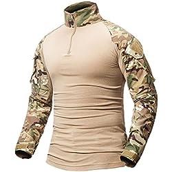 ShallGood Homme Chemises Combat Militaire Airsoft BDU Shirt Tenue Camouflage Uniforme Tactique Séchage Rapide avec Poches Coudières Manches Longues Chemise Multicam C Kaki Medium