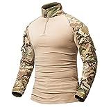 ShallGood Herren Camouflage Shirt Taktisch Militär Langarm T-Shirt Outdoor Hemd Slim Fit Kampfhemd C Khaki Large