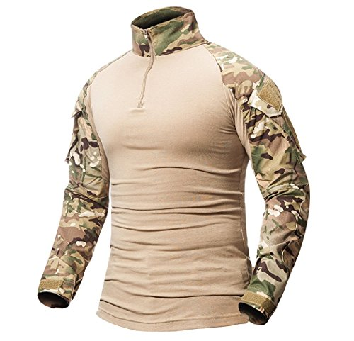 ShallGood Herren Outdoor Military Schlank Passen Taktisch T-Shirt Militär Tarnung Jacke Kampf Lange Hülse Camouflag T-Shirt Für Tactical Airsoft Paintball Armee Jagd Desert Hemd C Khaki X-Large