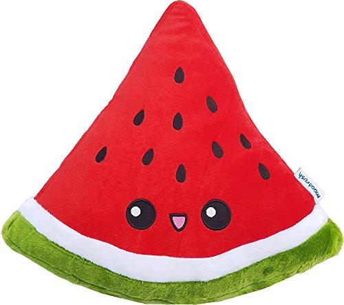 moodrush® Melone Kissen/Wassermelone Plüsch   alle Elemente aufgestickt (Nicht Bedruckt!)   waschbar   ca. 38x36 cm