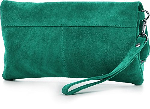Leder Clutch von CNTMP SMALL MEDIUM LARGE Ledertasche Partytasche Handtasche Leder Clutch Damen Handtasche Unterarmtasche Abendtasche Veloursleder Wildleder Grün (Smaragd)