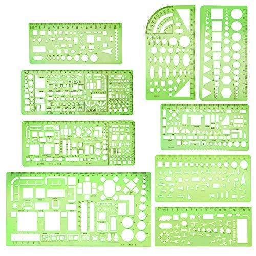 9 Stücke Geometrische Zeichnung Vorlagen Klare Grüne Gebäude Schalung Schablonen Kunststoff Messlineale für Gebäude und Studieren