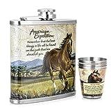 Gennissy 304en acier inoxydable 18/8226,8gram Bouteille�Cuir Marron avec 3tasses et entonnoir 100% étanche, Acier inoxydable, A Book of Horses, 9 OZ