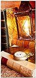 Wallario Selbstklebende Türtapete mit Schutzlaminat, Motiv: Antike Laterne mit Kerze alten Büchern und Taschenuhr - Größe: 93 x 205 cm in Premium-Qualität: Abwischbar, brillante Farben, rückstandsfrei zu entfernen