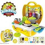 Sita Ram Retails Plastics Yellow Attractive Dream Kitchen Set Cooking Pretend Play Toys For Kids (SRR-51)