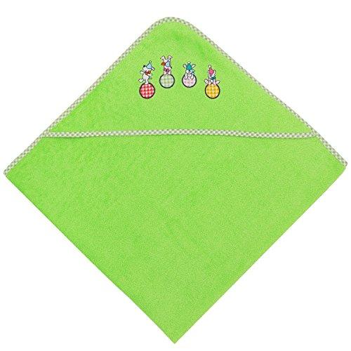 ZOLLNER® Kapuzenhandtuch / Kapuzenbadetuch / Kapuzentuch für Babys mit spielenden Hunden auf der Kappe, ca. 100x100 cm apfelgrün, in weiteren Farben erhältlich, vom Hotelwäschespezialisten, Serie