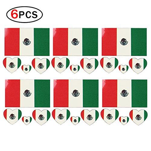 Mein Ji Sticker Tattoos Nationale Mexiko Tattoos Aufkleber Temporal Flagge National für Gesicht mit 6 Stück Nationaldekoration