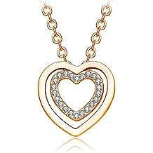 """NEEMODA """"Dans mon coeur"""" Collier Femme Pendentif Coeur Bijoux Cristal"""