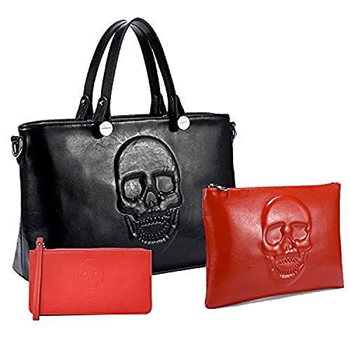 Mechaly - Borsa a tracolla donna Black & Red