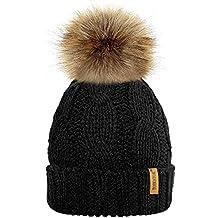 TOSKATOK® Mesdames trapu Douce câble Bonnet en Tricot avec Confortable  Doublure Polaire Amovible en Fausse 6e3eca556cd