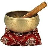 Crafthut Golden Brass 4-inch Diameter Tibetan Buddhist Singing Meditation Bowl with Stick and Cushion