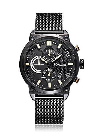 SONGDU Men's Stylish Sports Design Noir Racing Cadran Stainless Steel Milanese Band Men's Waterproof Wrist Watch Quartz Montre-bracelet pour hommes