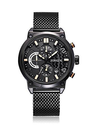 SONGDU Männer Stilvolle Sport-Design Quarz Armbanduhr mit schwarz  Rennen Zifferblatt und Edelstahl Milanese Band und Herren Wasserdichte Armbanduhr