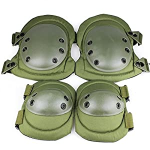 Tactical Knee Pad and Elbow Pad Set, Designed for Paintball and Performance Sports (Global Care Market Model G-NP0407T) by GCM