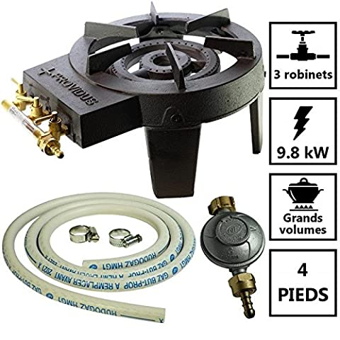Cast Iron Gas Stove 3Pack Fast Flow Adjustment 9.8KW + Connection High Stability and Gas Pressure