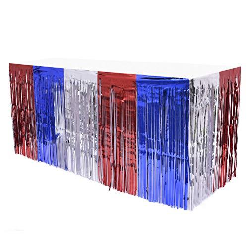 Amosfun 2pcs Tischdecken für Partys, 4. Juli Tischrock Folie Fringe Tischrock Patriotische Party Tisch Röcke Blau Rot Tischrock mit Regen Vorhang für Hochzeit Hawaiian Party