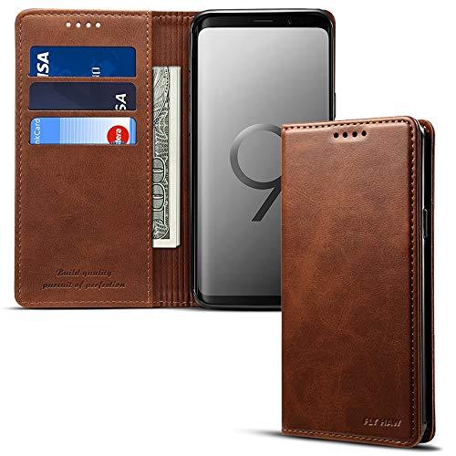 Für Samsung Galaxy S9/S9 Plus/Note9 Smart Leder Wallet Handy Kartenhalter Case Ständer Schutzhülle Flip Cover, Galaxy S9-5.8 inches, braun