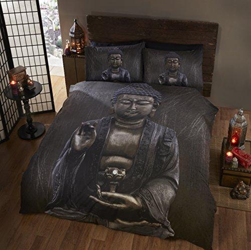 Buda Buda cama doble juego de funda nórdica y 2funda de almohada juego, Ethnic y espiritual, color marrón