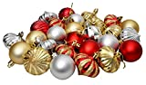 Toyshine 27 Pcs Christmas Tree Decoration, Balls, Red, Silver and Golden