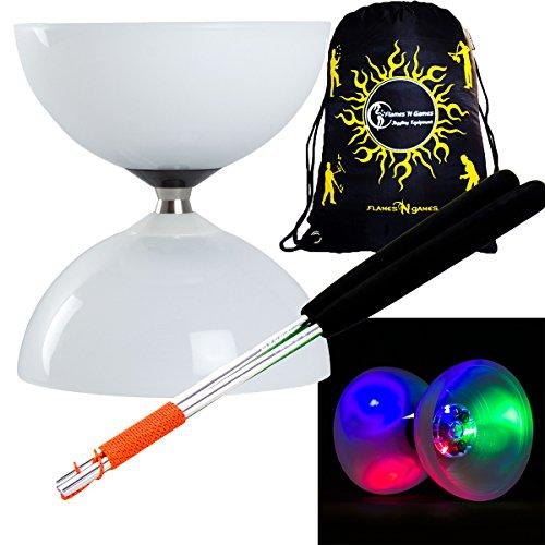 """Juggle Dream \""""LUNAR-SPIN\"""" GLOW-LED Diabolo für Anfänger mit Diablo Alu Handstäbe und Diaboloschnur +Tragetasche! Jongliergeräte / Diabolo Für Kinder"""