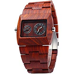 Leopard Shop BEWELL Men Quartz Watch Double Movement Wooden Red Sandalwood