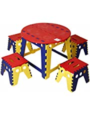 KitschKitsch Kids Plastic Portable Folding Table Set for Activity Play and Study, 60x60x45cm (Red Blue and Yellow)