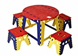 #4: KitschKitsch® Kids Portable Folding Table Set for Activity Play Study and Snacks