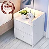 Bedside Table with 2 Drawers, Wood End Table/NightStand, White